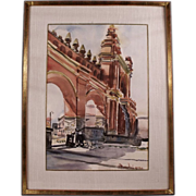 Framed Watercolor Arch Painting by H. Beaudain.