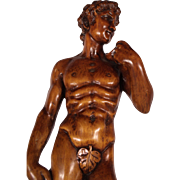 Stunning Large 19th Century Hand Carved Wood David Sculpture after Michelangelo