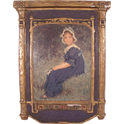 "Antique c1900 Dura Craft Gesso Art Panel ""Young Girl in Blue Bonnet"""
