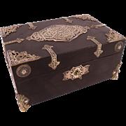 Stunning Antique c1840 French Ebonized Jewelry Casket, Brass & Enamel Mounts