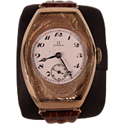 VERY RARE & Magnificent Large 14K Rose Gold Omega Wristwatch c1910