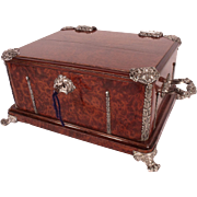 Important VERY LARGE French  Napoleon III Burled Wood Chest with Sterling Mounts by Alphonse .