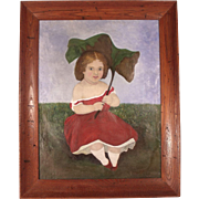 Gorgeous Large 19th Century Folk Art Naïve Portrait of a Young Girl