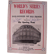 Amazing Rare 1954 TSN World Series Records Book, Autographed