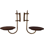 Exceptional Pair of Antique 1860s Brass & Wood Candle or Lamp Shelves