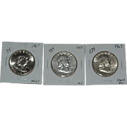 SOLD 1961-1963 Franklin Silver Half Dollars - Philadelphia Mint - 3 Coins Total