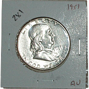 1951 Franklin Silver Half Dollar - Nice 64 year old Silver Coin - Philadelphia Mint