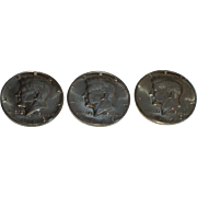 3 Kennedy Half Dollars - 1968-D, 1969-D and 1970-D - Beautiful 40% Silver Uncirculated ...