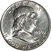1950 Franklin Silver Half Dollar - Nice 65 year old Silver Coin - Philadelphia Mint