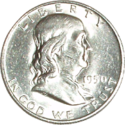 1950- D Franklin Silver Half Dollar - Nice 65 year old Silver Coin - Denver Mint