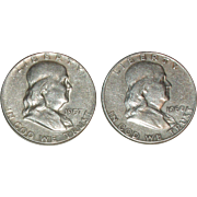 SALE 2 - Franklin Silver Half Dollars - 1957-P and 1960-D Mints - Nice 50+ year ...
