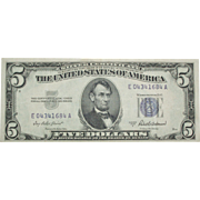 SALE 1953 A ~ $5 Silver Certificate ~ Blue Stamp ~ Very Nice Condition