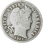 1913 Silver Barber Dime - Nice Circulated 103 year old coin - Philadelphia Mint