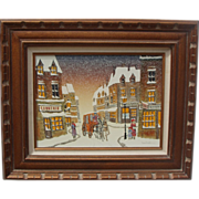 SALE Vintage Framed Oil on Canvas ~ Signed ~ Beautiful Winter Town Scene ~ 20x24