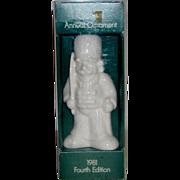 "Goebel 1981 Fourth Edition White Annual Ornament ""Nutcracker Toy Solider"" ~ with Ori"