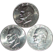 SOLD 1972 & 1976 Eisenhower (Ike) Dollars ~ 3 Total Coins ~ Circulated ~ Free Shipping Inc