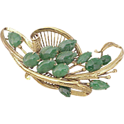 Gorgeous Apple Green JADE Brooch 14k Gold circa 1950's