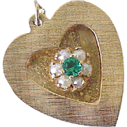 Vintage Jeweled Heart Charm 14k Gold Cultured Pearl & Faux Emerald