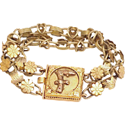 Victorian Aesthetic Era Bracelet, Mixed Metals, Initial F on 10k Gold Box Clasp