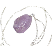 Natural Amethyst Solitaire Rough Faceted Pendant / Necklace Sterling Silver
