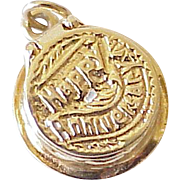 Vintage Anniversary Cake Charm, OPENS Three Dimensional 14k Gold 1950-60's
