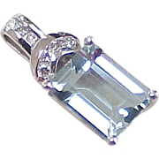SOLD Vintage Aquamarine & Diamond Pendant 2.10 Carats Gem Weight 14k White Gold