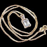 Classic Aquamarine & Diamond 1.47 ctw Pendant /  Necklace 10k Gold