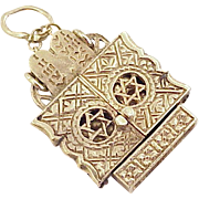 Vintage Moving Judaica Charm 14k Gold, Arc / Torah circa 1950's
