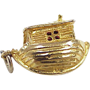 Vintage European 9K Gold Moving Charm, Noah's ARK with Colorful Enameled Animals circa 1960's