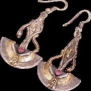 Modernist Artistic Long Dangle Earrings Sterling Silver & Ruby
