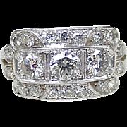 REDUCED Art Deco Diamond Platinum Ring VVS to VS Quality 2.27 Carats Total