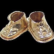Vintage 14k Gold Baby Shoes Charm(s) circa 1955 Three Dimensional