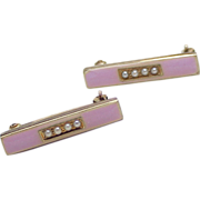 Victorian 14k Gold Cuff or Baby Pins, Pink Enamel & Seed Pearl