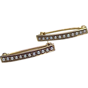 Victorian 14k Gold Cuff or Baby Pins, Seed Pearl Accent