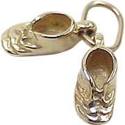 Vintage 14k Gold Charm ~ Baby Shoes / Booties, Three Dimensional