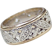 Vintage 14k Gold Two Tone Gold Wide Band Ring Pierced Ornate Design size 5-1/2