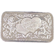 Fine Silver Art Bar VALENTINES DAY .999+, 1 Troy Oz California Crown Mint c. 1985