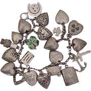 Vintage 1941 Sterling Silver Charm Bracelet, 23 Charms, 14 Puffy Hearts