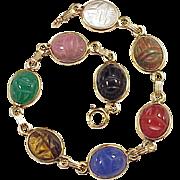 Egyptian Revival Scarab Bracelet 14k Gold Colorful Carved Stone Circa 1920's