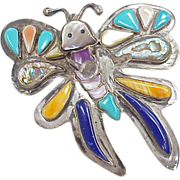 Whimsical Vintage Butterfly Pendant / Brooch Sterling Silver & Colorful Stone Inlay