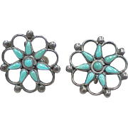 Vintage Zuni Screw Back Earrings Sterling Silver & Turquoise Circa 1940-50's