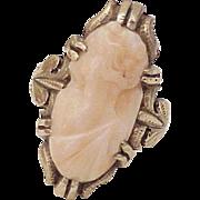 Victorian Era Angel Skin Coral Cameo Ring 10k Rose Gold