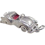 Vintage Wells Sterling Silver Convertible Sports Car Charm Three Dimensional Enameled Accent .