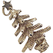 Vintage Christmas Tree Holiday Charm 14k Gold Three Dimensional circa 1950's
