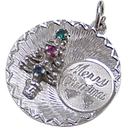 Vintage Sterling Silver Jeweled Charm ~ Christmas, Holiday