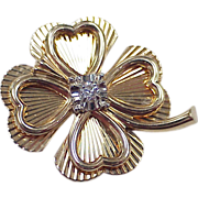 Vintage Lucky Four Leaf Clover Brooch 14k Gold & Diamond circa 1950's