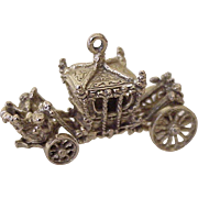 BIG Moving Coronation Coach Charm English 9K Gold Three Dimensional