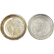 Mexican Sterling Silver Mayan Calendar Coaster Set