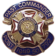 REDUCED Vintage VFW Past Commander Pin 1949-50, 10k Gold