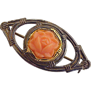 Vintage Sterling Silver Pin / Brooch Faux Coral Rose Accet